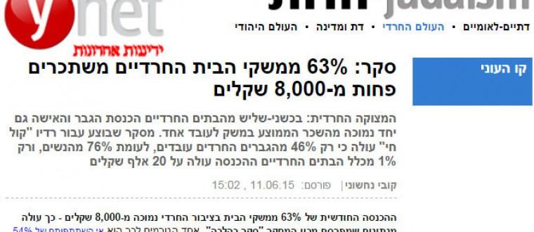 YNET: ב- 63% ממשקי הבית החרדיים משתכרים פחות מ-8,000 שקלים